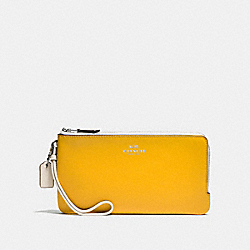 DOUBLE ZIP WALLET IN COLORBLOCK LOGO SIGNATURE COATED CANVAS AND LEATHER - SILVER/LT KHAKI - COACH F57602