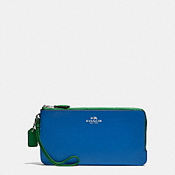 DOUBLE ZIP WALLET IN COLORBLOCK LOGO SIGNATURE COATED CANVAS AND LEATHER - SILVER/KHAKI - COACH F57602