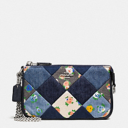 COACH LARGE WRISTLET 19 IN DENIM PATCHWORK - SILVER/MIDNIGHT MULTI - F57609