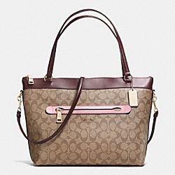 TYLER TOTE IN COLORBLOCK SIGNATURE - f57611 - IMITATION GOLD/KHAKI OXBLOOD MULTI