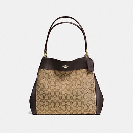 COACH f57612 LEXY SHOULDER BAG IN OUTLINE SIGNATURE IMITATION GOLD/KHAKI/BROWN