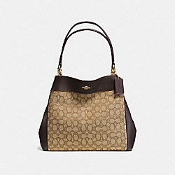 LEXY SHOULDER BAG IN OUTLINE SIGNATURE - f57612 - IMITATION GOLD/KHAKI/BROWN