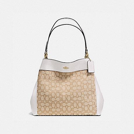 COACH LEXY SHOULDER BAG IN OUTLINE SIGNATURE - IMITATION GOLD/LIGHT KHAKI/CHALK - f57612