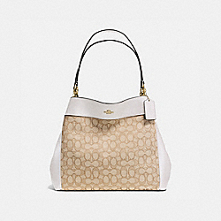 LEXY SHOULDER BAG IN OUTLINE SIGNATURE - f57612 - IMITATION GOLD/LIGHT KHAKI/CHALK