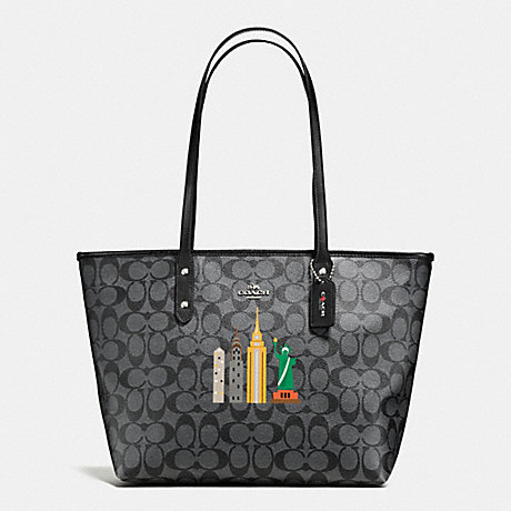COACH f57616 NYC SKYLINE CITY ZIP TOTE IN SIGNATURE SILVER/BLACK SMOKE/BLACK