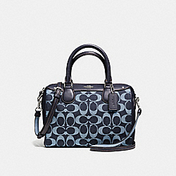 MINI BENNETT SATCHEL IN SIGNATURE DENIM AND LEATHER - f57619 - SILVER/LIGHT DENIM