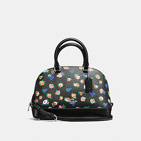 COACH MINI SIERRA SATCHEL IN TEA ROSE FLORAL PRINT COATED CANVAS - SILVER/BLACK MULTI - f57624