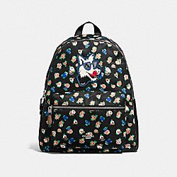 CHARLIE BACKPACK IN TEA ROSE FLORAL PRINT NYLON - F57635 - SILVER/BLACK MULTI