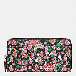 COACH ACCORDION ZIP WALLET IN POSEY CLUSTER FLORAL PRINT COATED CANVAS - SILVER/PINK MULTI - F57641