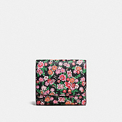 COACH SMALL WALLET IN POSEY CLUSTER FLORAL PRINT COATED CANVAS - SILVER/PINK MULTI - F57642