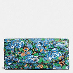 COACH SLIM ENVELOPE WALLET IN ROSE MEADOW FLORAL PRINT COATED CANVAS - SILVER/BLUE MULTI - F57643