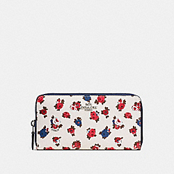 COACH ACCORDION ZIP WALLET WITH TEA ROSE FLORAL PRINT - CHALK MULTI/SILVER - F57649