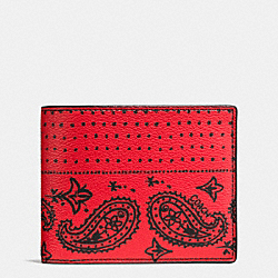 3-IN-1 WALLET IN BANDANA PRINT CANVAS - f57653 - RED/BLACK BANDANA