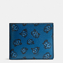 3-IN-1 WALLET IN FLORAL PRINT COATED CANVAS - f57654 - DENIM FLORAL