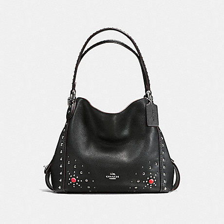 COACH EDIE SHOULDER BAG 31 IN POLISHED PEBBLE LEATHER WITH WESTERN RIVETS - SILVER/BLACK - f57660