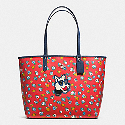 COACH REVERSIBLE CITY TOTE IN TEA ROSE FLORAL PRINT COATED CANVAS - SILVER/RED MULTI MARINA - F57668