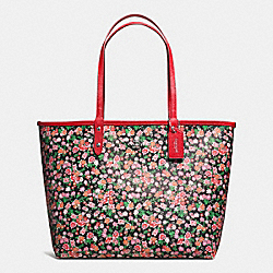 REVERSIBLE CITY TOTE IN POSEY CLUSTER FLORAL PRINT COATED CANVAS - f57669 - SILVER/PINK MULTI BRIGHT RED