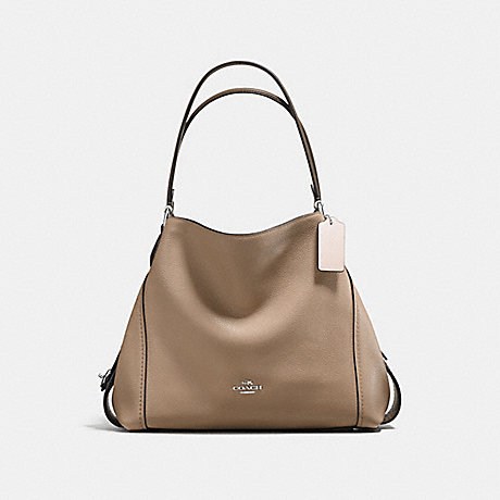 COACH EDIE SHOULDER BAG 31 IN COLORBLOCK WITH SNAKESKIN - STONE MULTI/SILVER - f57670