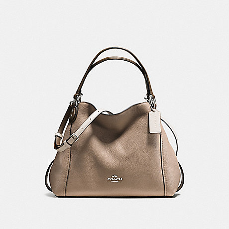 COACH EDIE SHOULDER BAG 28 IN COLORBLOCK WITH SNAKESKIN - STONE MULTI/SILVER - f57671