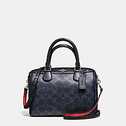MINI BENNETT SATCHEL IN DENIM SIGNATURE COATED CANVAS - f57672 - SILVER/DENIM
