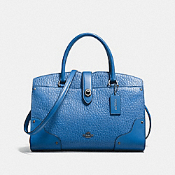 COACH MERCER SATCHEL 30 IN MIXED LEATHERS - DARK GUNMETAL/LAPIS - F57690