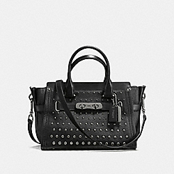 COACH SWAGGER 27 IN PEBBLE LEATHER WITH OMBRE RIVETS - DARK GUNMETAL/BLACK - COACH F57697