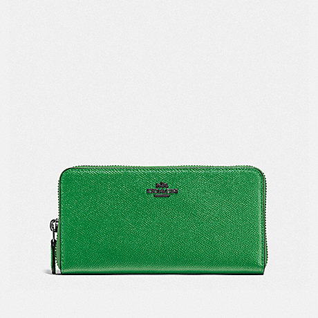 COACH ACCORDION ZIP WALLET - DARK GUNMETAL/GRASS GREEN - f57713