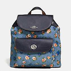 MINI BILLIE BACKPACK IN PRINTED DENIM AND LEATHER - f57754 - SILVER/DENIM MULTI