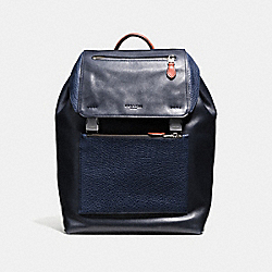 MANHATTAN BACKPACK IN MIXED LEATHERS - f57759 - BLACK ANTIQUE NICKEL/INDIGO