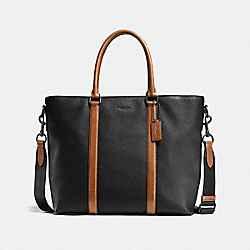 HARNESS METROPOLITAN TOTE - BLACK/DARK SADDLE/BLACK - COACH F57773