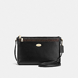 COACH EAST/WEST CROSSBODY WITH POP UP POUCH IN CROSSGRAIN LEATHER - IMITATION GOLD/BLACK - F57788