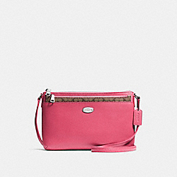 COACH EAST/WEST CROSSBODY WITH POP UP POUCH IN CROSSGRAIN LEATHER - SILVER/STRAWBERRY - F57788