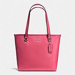 ZIP TOP TOTE IN CROSSGRAIN LEATHER AND COATED CANVAS - f57789 - SILVER/STRAWBERRY