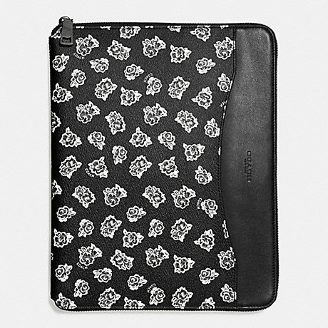 COACH TECH CASE IN FLORAL PRINT CANVAS - BLACK/WHITE FLORAL - f57812