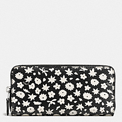 COACH ACCORDION ZIP WALLET IN GRAPHIC FLORAL PRINT COATED CANVAS - SILVER/BLACK MULTI - F57818