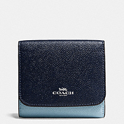COACH SMALL WALLET IN GEOMETRIC COLORBLOCK CROSSGRAIN LEATHER - SILVER/MIDNIGHT BLUE MULTI - F57825
