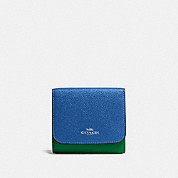 SMALL WALLET IN GEOMETRIC COLORBLOCK CROSSGRAIN LEATHER - SILVER/LAPIS - COACH F57825