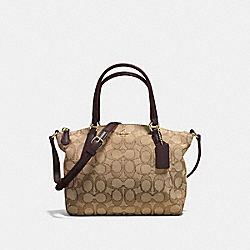 MINI KELSEY SATCHEL IN OUTLINE SIGNATURE - f57830 - IMITATION GOLD/KHAKI/BROWN
