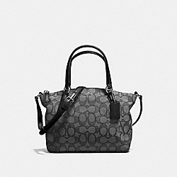 MINI KELSEY SATCHEL IN OUTLINE SIGNATURE - f57830 - SILVER/BLACK SMOKE/BLACK