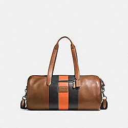 METROPOLITAN SOFT GYM BAG WITH VARSITY STRIPE - DARK SADDLE/BLACK/BLACK ANTIQUE NICKEL - COACH F57836