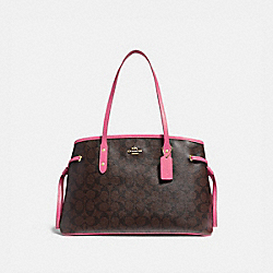 DRAWSTRING CARRYALL IN SIGNATURE CANVAS - BROWN /PINK/LIGHT GOLD - COACH F57842