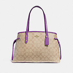 DRAWSTRING CARRYALL IN SIGNATURE CANVAS - LIGHT KHAKI/PRIMROSE/IMITATION GOLD - COACH F57842