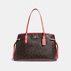 DRAWSTRING CARRYALL IN SIGNATURE CANVAS - BROWN/CORAL/IMITATION GOLD - COACH F57842