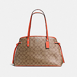 DRAWSTRING CARRYALL IN SIGNATURE CANVAS - KHAKI/ORANGE RED/SILVER - COACH F57842