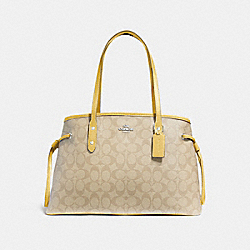 DRAWSTRING CARRYALL IN SIGNATURE CANVAS - LIGHT KHAKI/LIGHT YELLOW/SILVER - COACH F57842