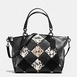 SMALL KELSEY SATCHEL IN SNAKE EMBOSSED PATCHWORK - f57849 - ANTIQUE NICKEL/BLACK MULTI