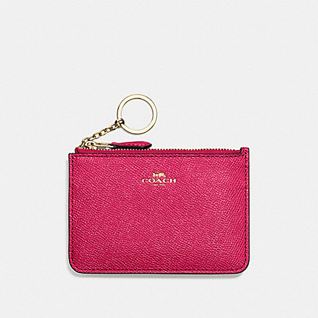 COACH KEY POUCH WITH GUSSET IN CROSSGRAIN LEATHER - IMITATION GOLD/BRIGHT PINK - f57854