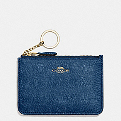 COACH KEY POUCH WITH GUSSET IN CROSSGRAIN LEATHER - IMITATION GOLD/MARINA - F57854