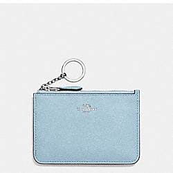 COACH KEY POUCH WITH GUSSET IN CROSSGRAIN LEATHER - SILVER/CORNFLOWER - F57854