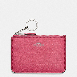 COACH KEY POUCH WITH GUSSET IN CROSSGRAIN LEATHER - SILVER/STRAWBERRY - F57854